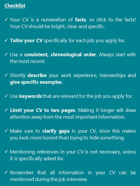 Checklist for your CV